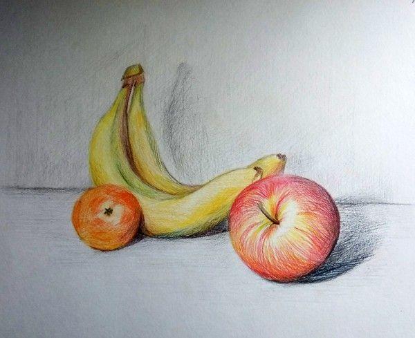 """Меркуль Марианна 14 лет<br />""""Бананы и яблоки"""" цв. карандаши"""