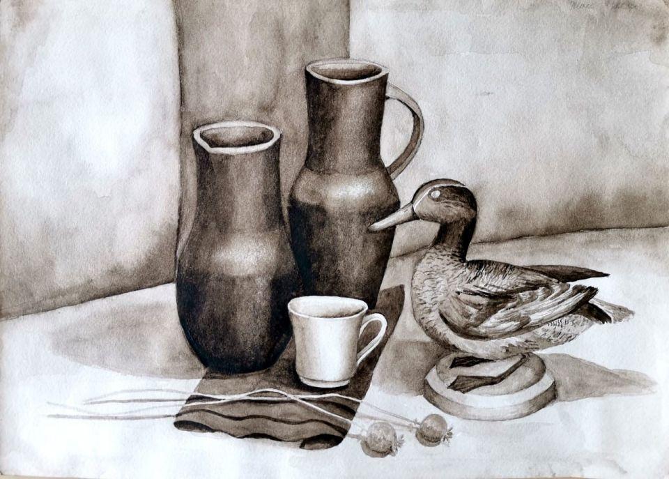 Кирюшкина Дарья, натюрморт с чучелом птицы, гризайль, бум., акварель