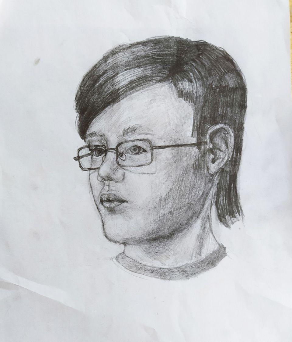 """Поздняков Егор<br />""""Автопортрет"""", бум./кар."""